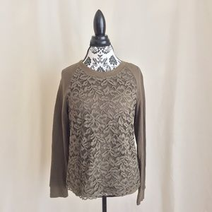 Loft Lace Front Crew Neck Long Sleeved Top